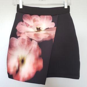 Topshop black floral faux wrap skirt